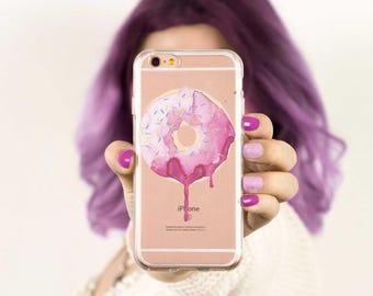 iPhone 8 Case Clear Phone Case Clear Donut Phone Case Pink Phone Case iPhone 7 Case iPhone 7 Plus iPhone 6 Plus iPhone 6s Case iPhone 5 Case