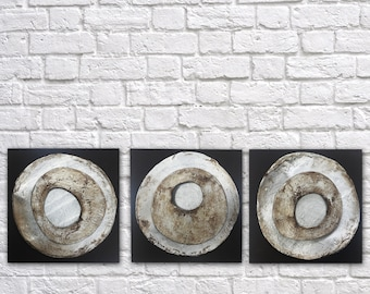 3 Discs, original abstract painting, ceramic, mixed media, textured painting, acrylic painting, modern art, silver, clay