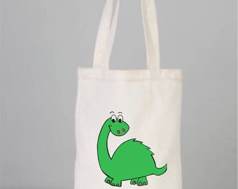 Dinosaur bag, Green Dino book bag, cotton bags, tote bags,  everyday bags, love book, handmade drawing,3D, cactus gift, small tote