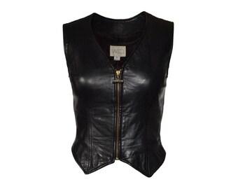 Vakko Leather Zip Front Vest - Women's Size xs