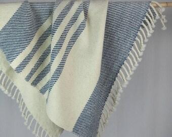 BABY STRIPES BLANKET, throw, 28x40 inch, striped, handwoven, warm, new wool, stoller blanket, babyshower, baptism