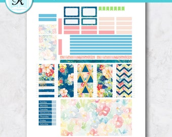 Passion Planner Stickers * Compact Sized Passion Planner * Printable Planner Stickers - TROPICAL GARDEN - Digital Download