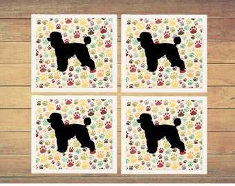 Poodle Ceramic Coasters | Dog Lover | Poodle Gifts | Poodle Dog Mom Gifts | Poodle Lover Gifts | Poodle Drink Coasters (Set of 4)