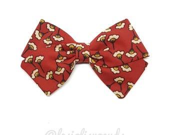 Barrette girl or baby poppies LIBERTY bow headband