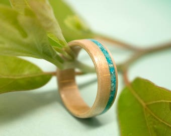 Maple Bentwood Ring with Turquoise Inlay