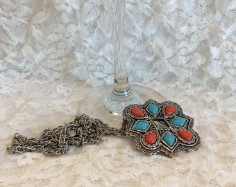 Avon 1993 American Spirit Silver Tone Faux Red Coral Faux Turquoise Necklace With Pendant that Adapts As Brooch