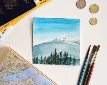 Small Original Watercolor Painting Mountain Scene