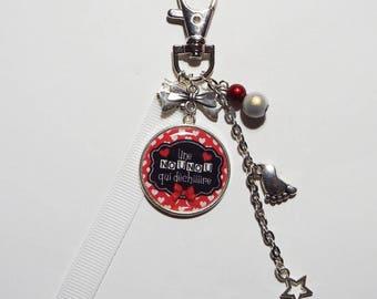 """Keychain - nanny/BABYSITTER """"Nanny tearing"""" bag charm/gift"""