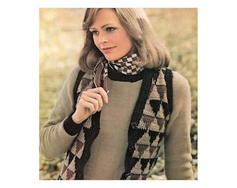Knit Sweater Crochet Vest Duo - PDF Pattern - Triangle Pattern