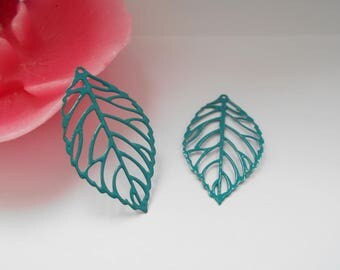 x 2 turquoise enameled leaf prints