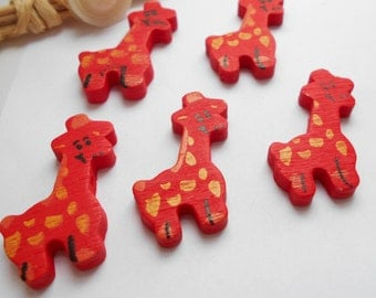 set of 5 beads giraffe red wood