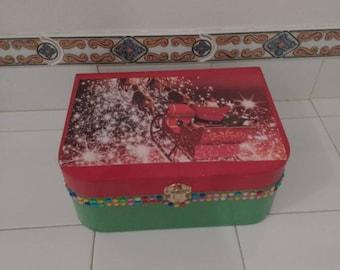 Christmas Santa in Sleigh Handmade Wooden Keepsake Box
