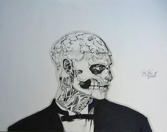 "Portrait. ""Rick Genest"" aka Zombie Boy. Graphite. Drawing"