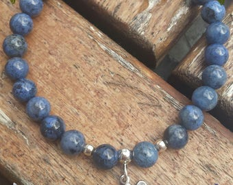 Dumortierite and silver bracelet