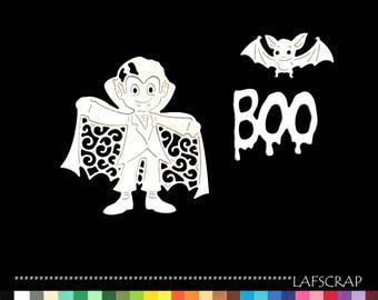 cuts scrapbooking halloween vampire bat boy animal Word boo embellishment Scrapbook die cut scrap