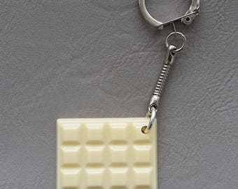 White chocolate bar resin keychain