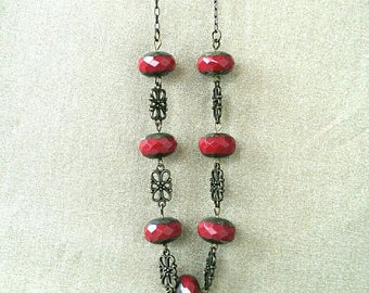 Burgundy bronze Bohemian beads necklace