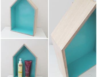 Wall shelf shaped wooden background turquoise