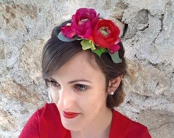 Red flowers and fuchsia headband