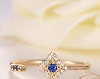 Open Ring Sapphire Ring Gold Cuff Ring Star Diamond Gift Anniversary Promise Women Thin Dainty Unique Birthday Promise Adjustable Flower