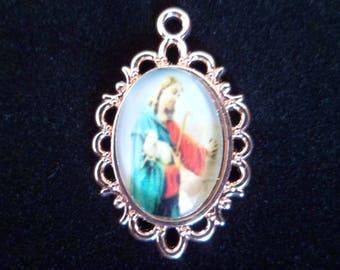1 pendant 30 mm gold glass Christian medal
