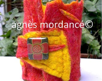 Large yellow red felted wool - OOAK cuff bracelet