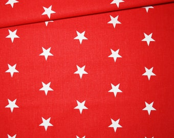 100% cotton fabric printed 50 x 160 cm, white stars on red background