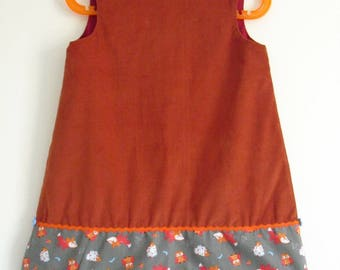 "Pretty winter dress ""Foxes, hedgehogs and owls"" T 3 years"