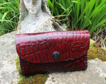 tobacco pouch leather Croc grain, hand sewed, beautiful dark red color