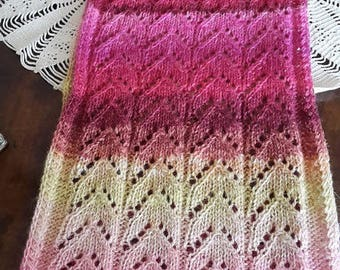 SCARF HANDKNITTED PINK  mohair and silk noro