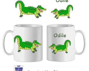 Mug Crocodile-personalized with a name-(example Odile)