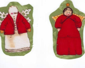 """Applied sewing textile """"2 traditional Christmas Angels"""" 9 cm x 8 GR each"""