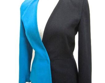S 2Tone Turquoise Blue & Black New Wave Jacket Blazer Wool Suit Coat Women's 80s by Kasper