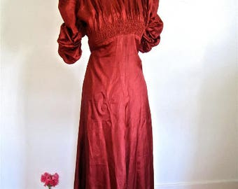 XS 30s Gown Moire Satin Rust Red Ruching Puff Sleeves Long Evening Party Formal Dress Extra Small