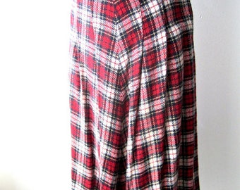 M 40s Skirt Wool Plaid Button Side Red White Blue Swing Era Classic Collegiate Shag Lindy Hop Rockabilly Vintage Medium