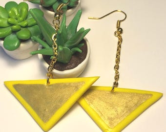 Yellow and gold triangle in polymer clay earrings
