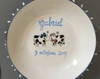 "Soup plate porcelain child, ""cows"" sets, personnalisaton birthday gift"