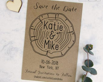 Wood Slice Save the Date Card, Rustic Printable Save the Date, DIY Save the Date, Tree Save the Date Template, Woodland Wedding Invitation