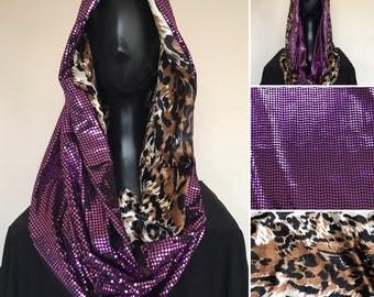 Festival Hoodie   Infinite Scarf   Cowl Neck Hood   Fuchsia Dot Sequin   Velvet Leopard Print