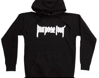Justin Bieber Purpose Tour Unisex Hoodie Black Purpose Tour Merch Hoodie