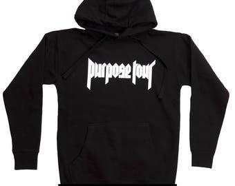 Justin Bieber Purpose Tour Unisex Hoodie Black Purpose Tour Merch Hoodie