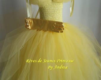 Tutu dress, Princess Belle costume yellow tulle