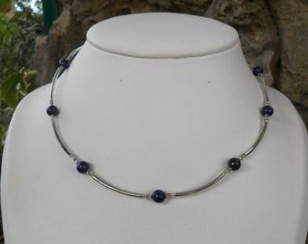 Necklace silver tubes 925, lapis lazuli