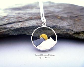 Mountain Necklace - 925 Sterling Silver Mountain Range Pendant - Mountain Jewelry - Wilderness Jewelry - Sun Necklace - Hiker Jewelry