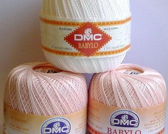 Lot 3 skeins dmc thread Babylo pink and white - crochet babylo thread