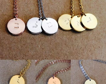 Hebrew Initial Necklace, Dainty Initial Necklace, Gold Rose Silver Necklace, Custom Necklace, Initial Disc Letter Necklace, Gift for Her