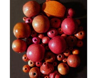 Wooden beads of various shapes of orange, Red