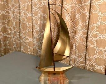 Large DeMott brass sailboat