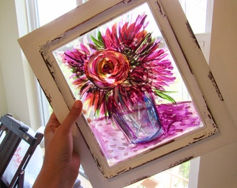 home decor/ Painted glass floral still life/ housewarming/ bridal shower/ birthday present/gift