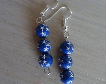 Blue dangle earrings with silver stars